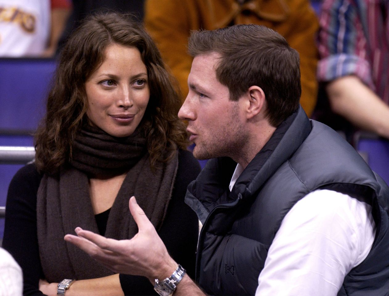 <p>Christy Turlington attends a Laker game with actor Edward Burns in 2003. </p>
