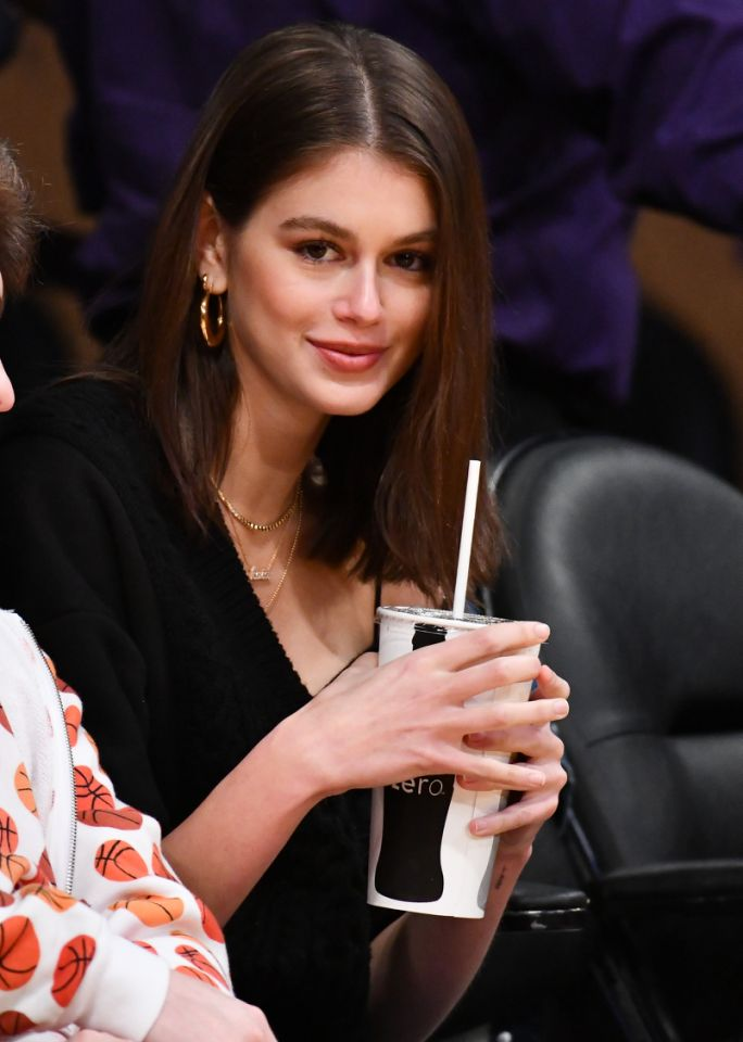 <p>Kaia Gerber attends a Lakers, Pistons game at Staples Center in 2019. </p>