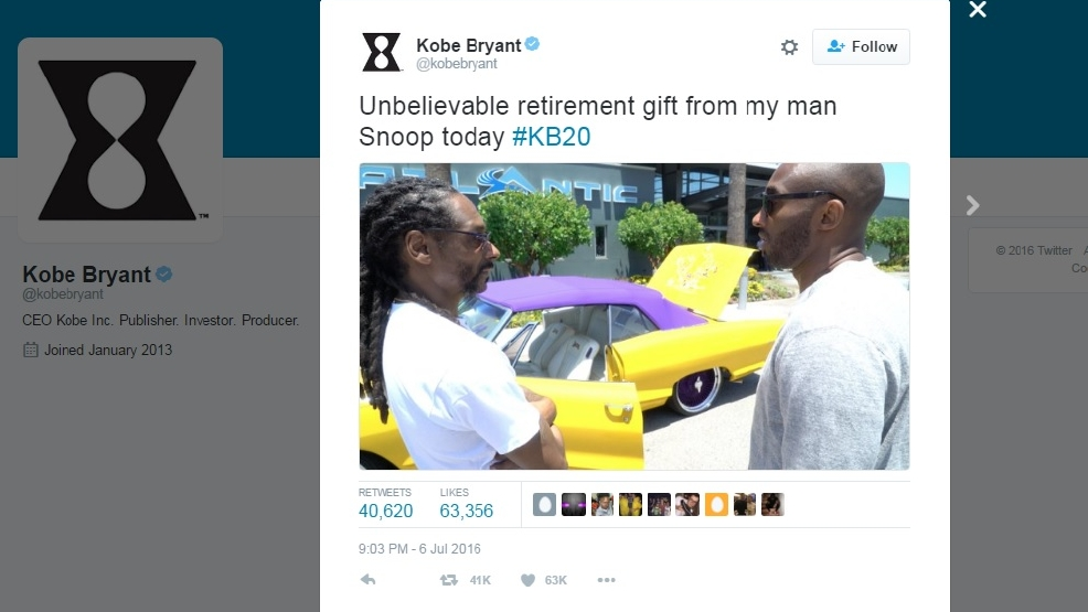 Snoop Dogg gives Kobe Bryant a Lakers-themed convertible | WLUK