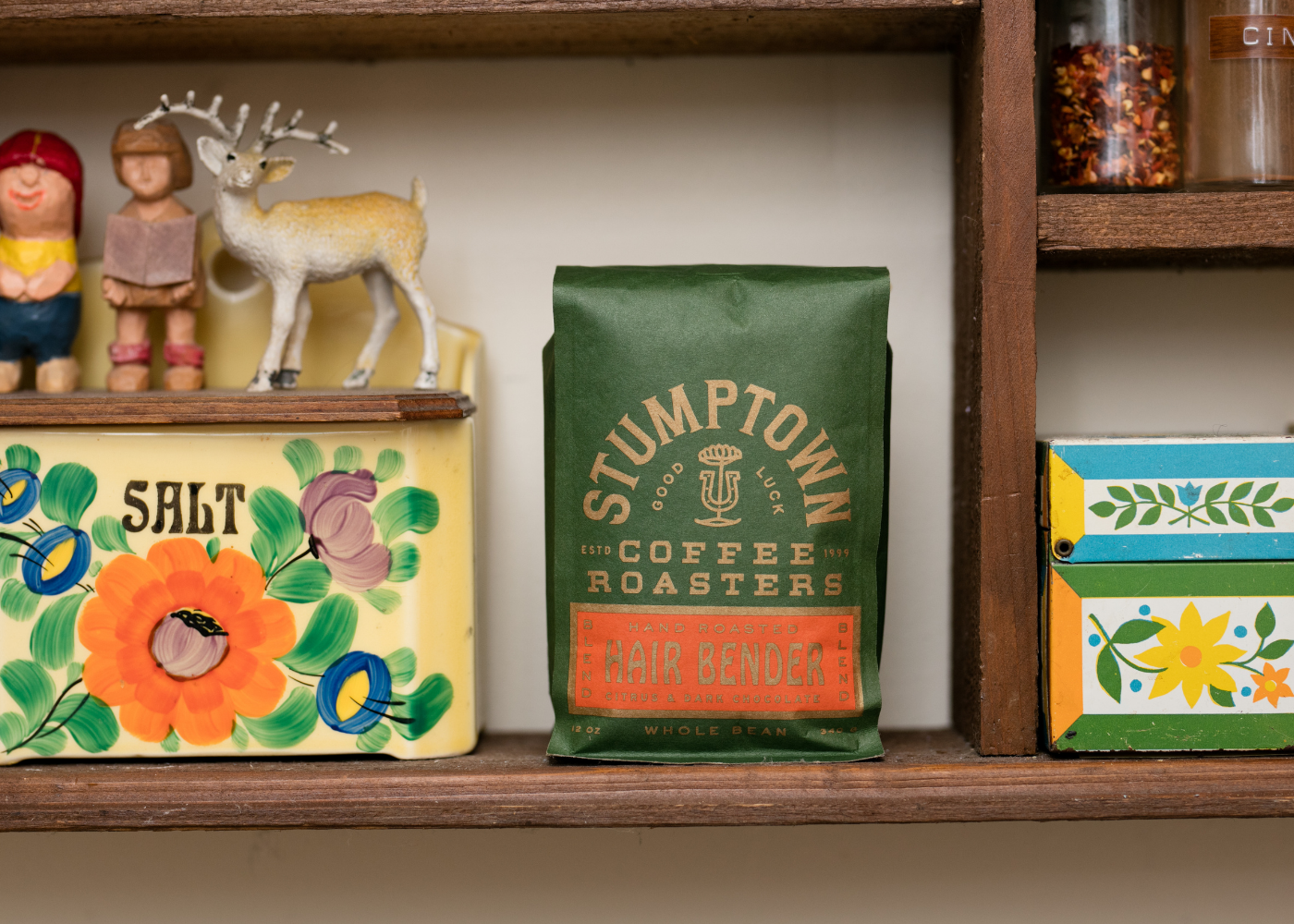 bag of Stumptown Hairbender coffee on a shelf.