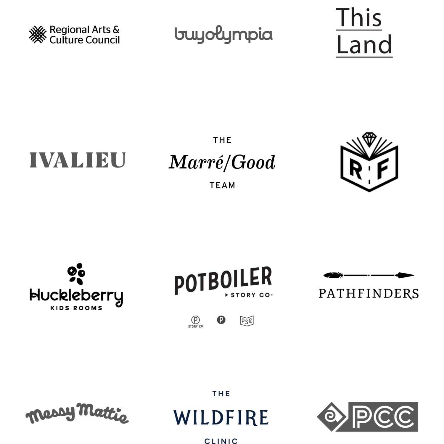 Examples of logos designed by Jen Wick of    Fort Wick