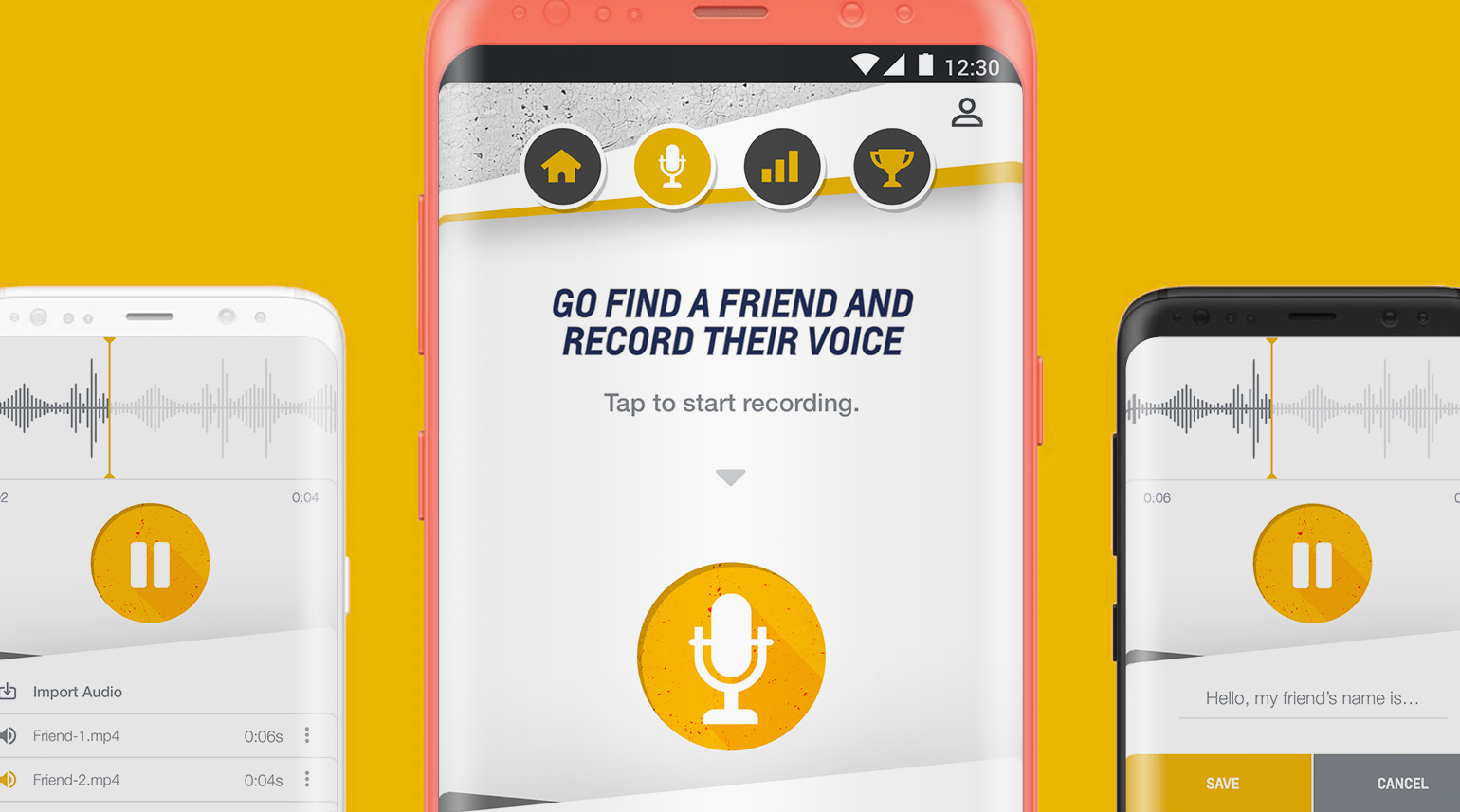 UI to pre-record a personalized audio message within the Call Me Out mobile app.