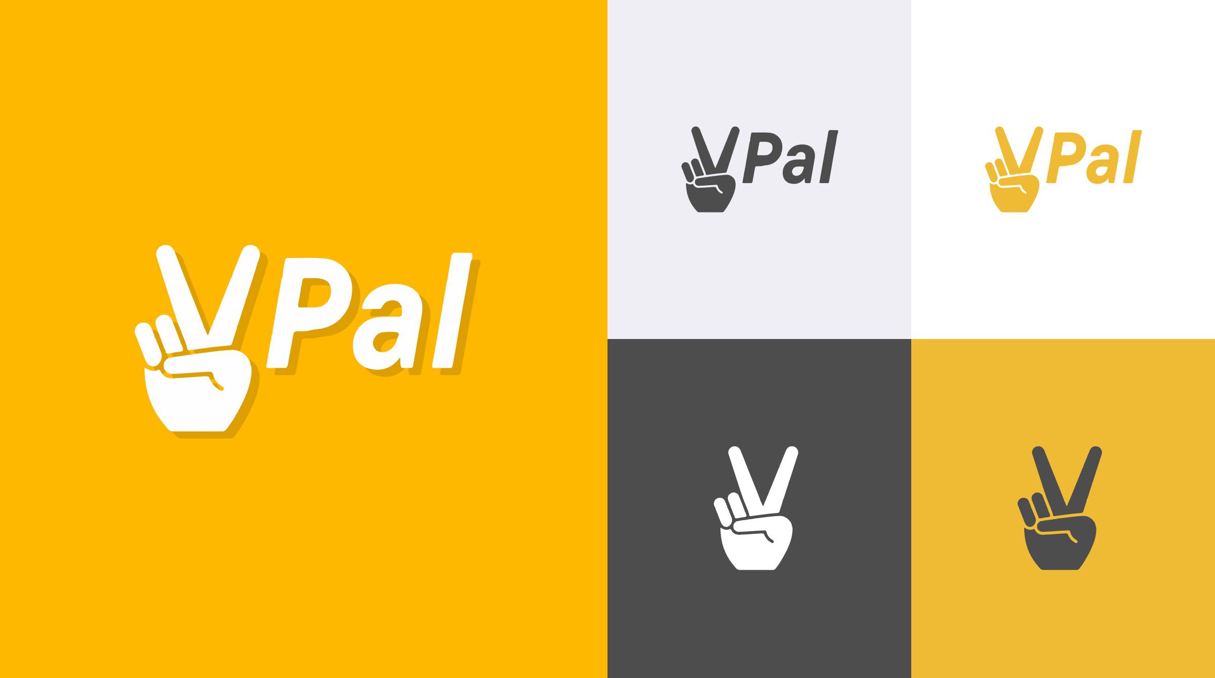Grid of the VPal brand identity and branding system.