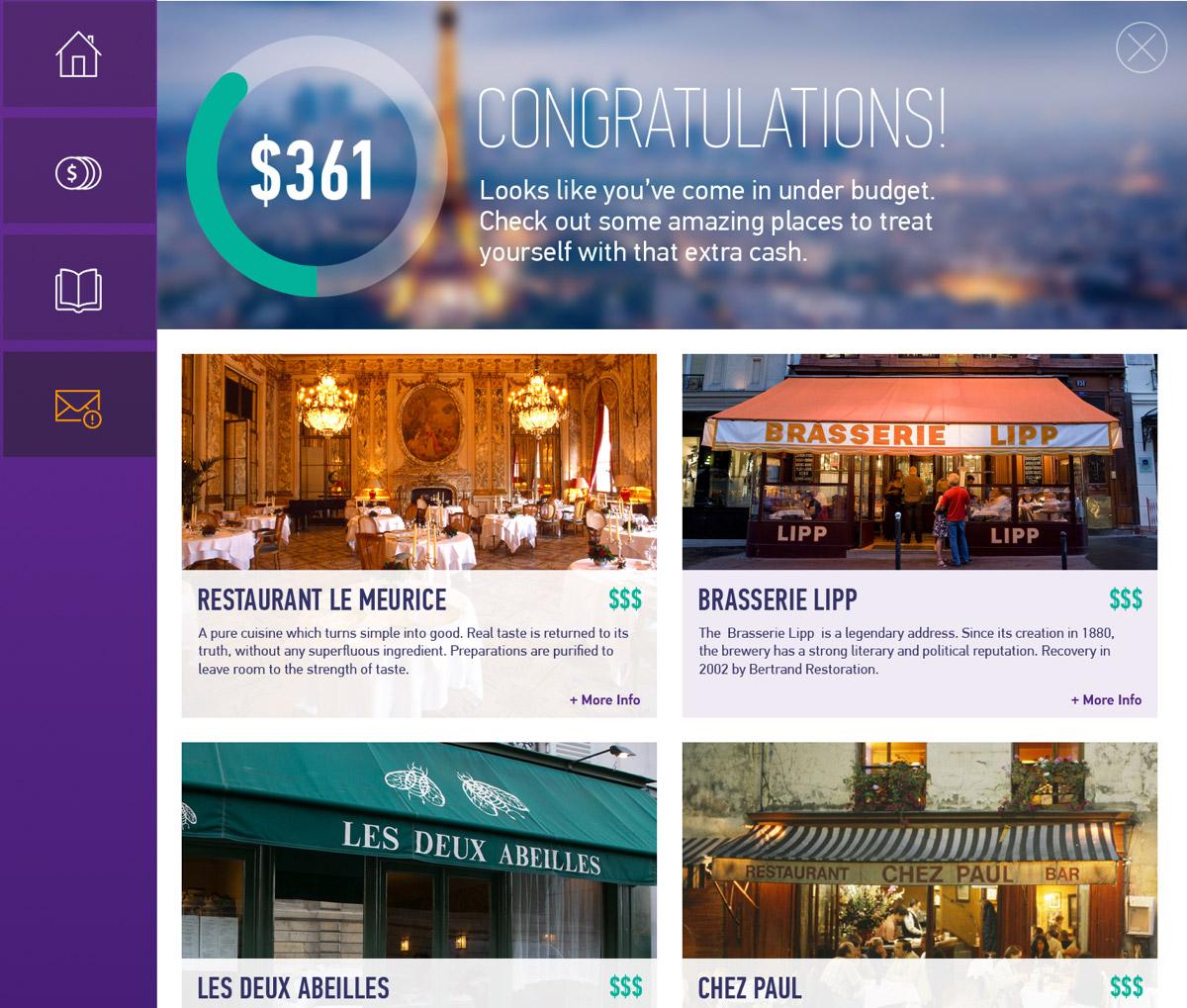 Screenshot of user rewards.