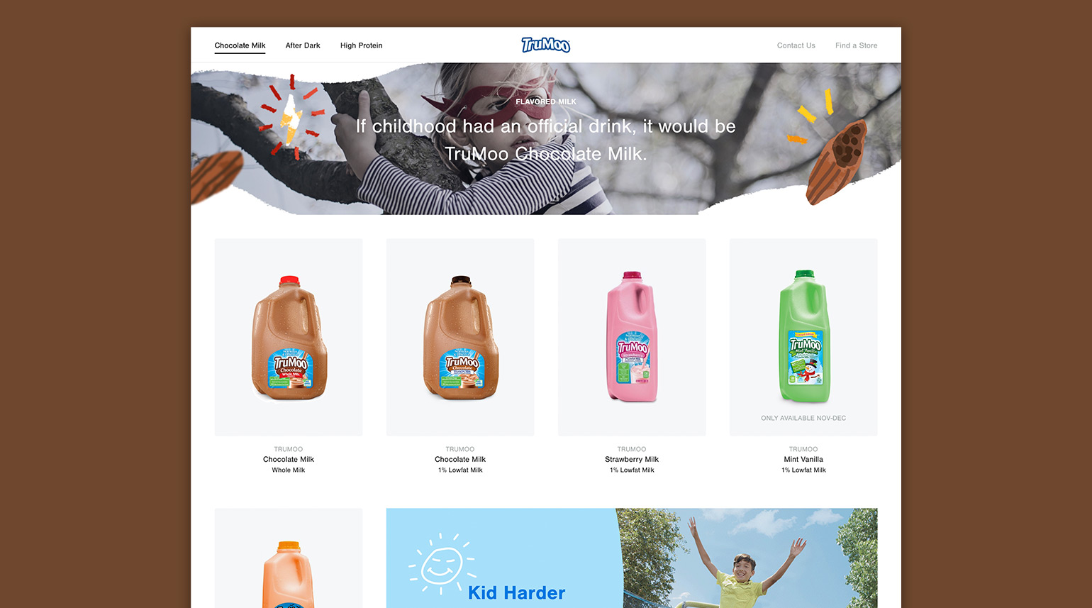 New product page design featuring all TruMoo products.