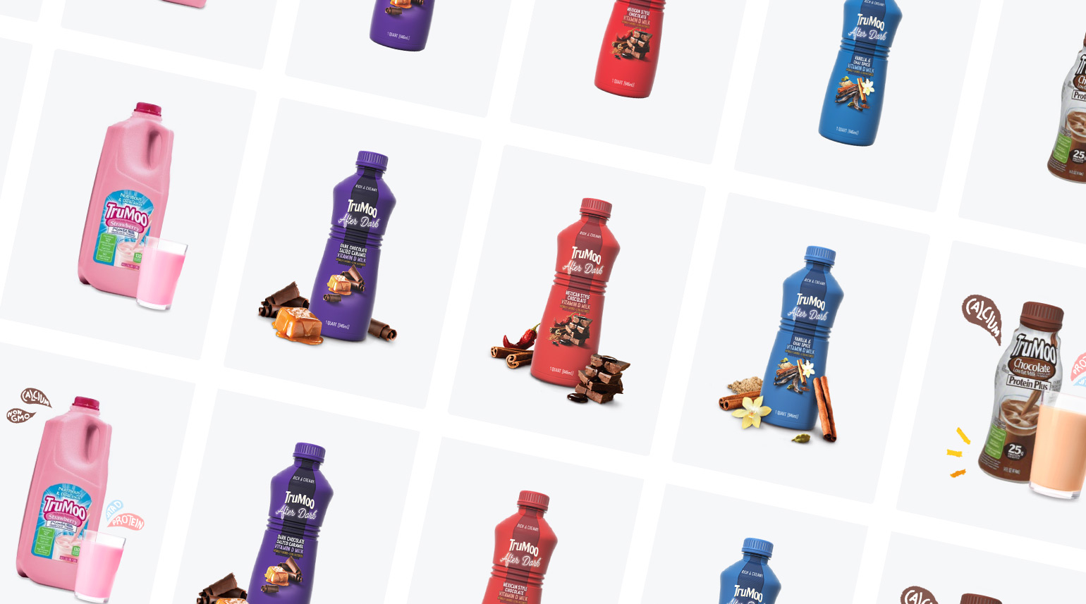 A grid of all the available TruMoo products and the custom photography.