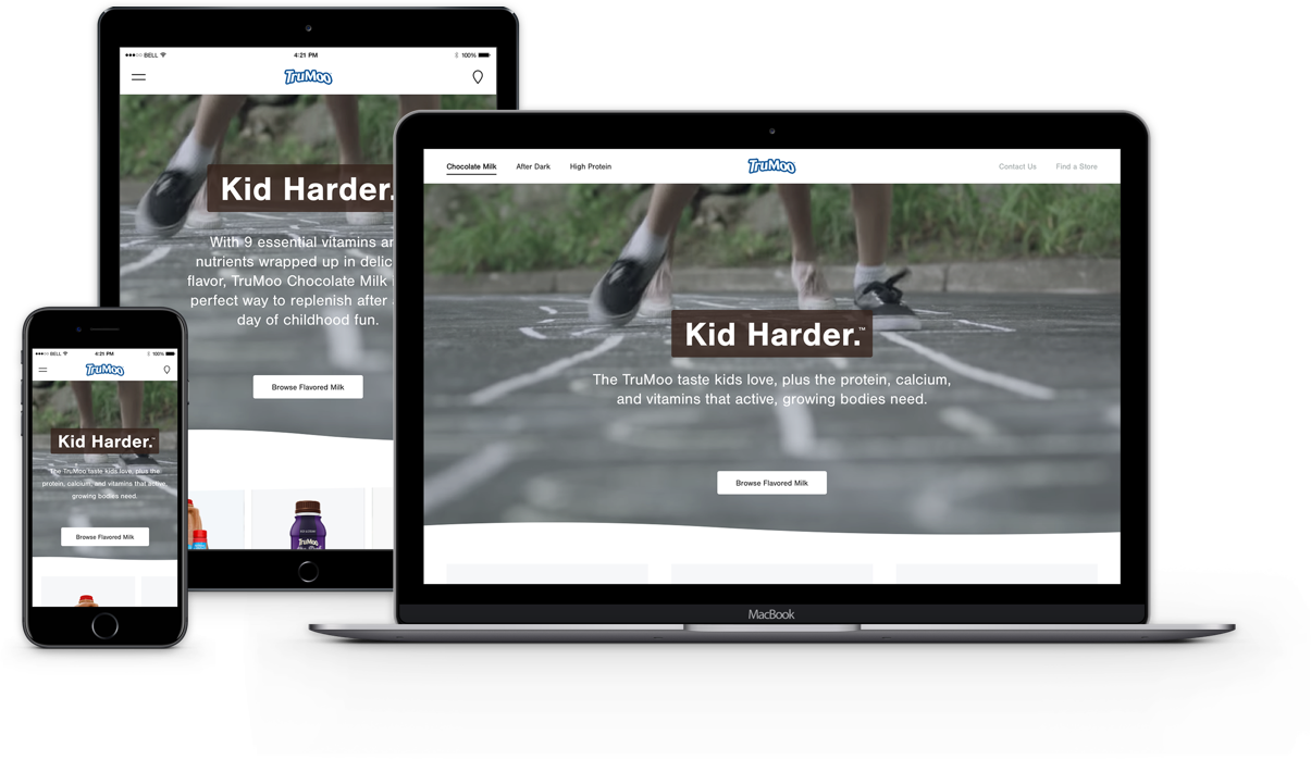 The redesigned responsive TruMoo website across a desktop, tablet and mobile device.