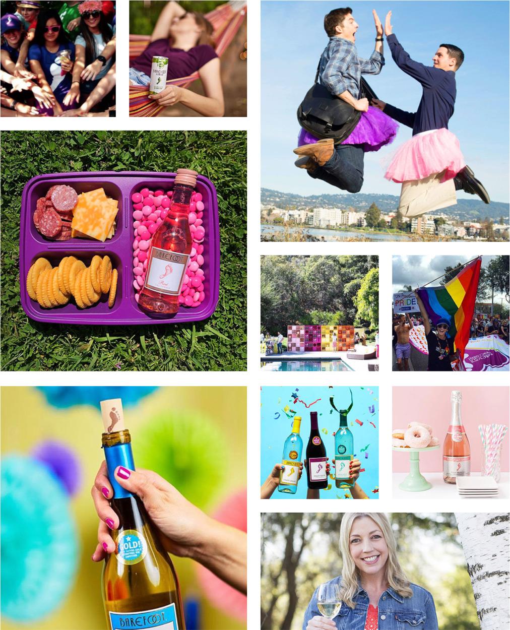Assortment of various Barefoot Wine lifestyle photography photos.