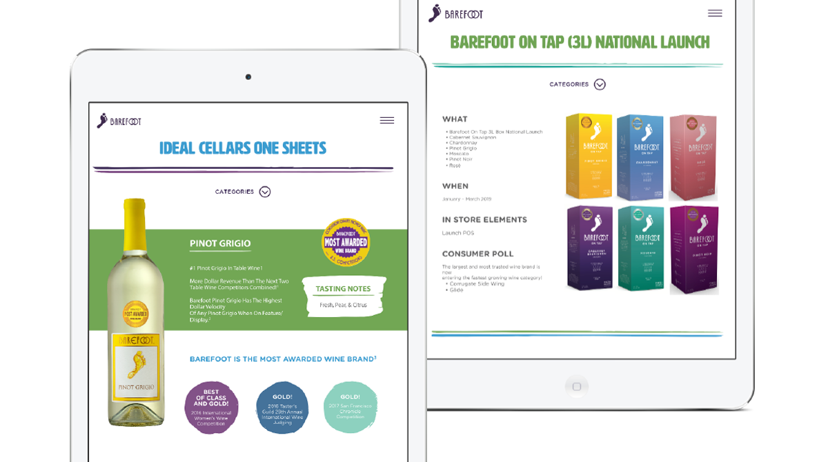 Screenshots of Barefoot Wine marketing and sales sheets on tablet.