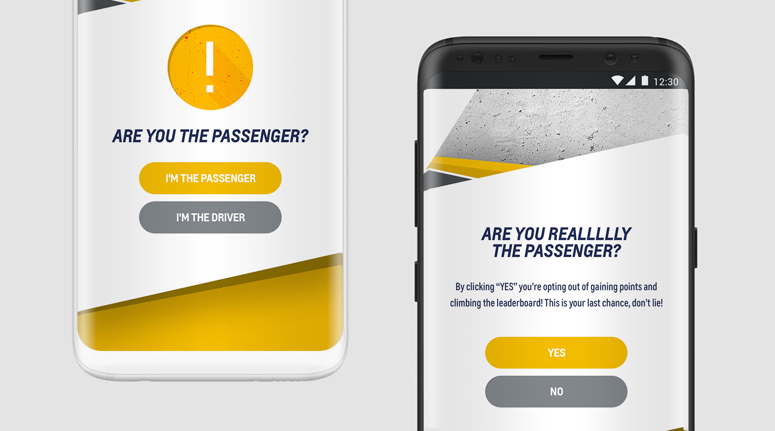 UI for passenger detection functionality.