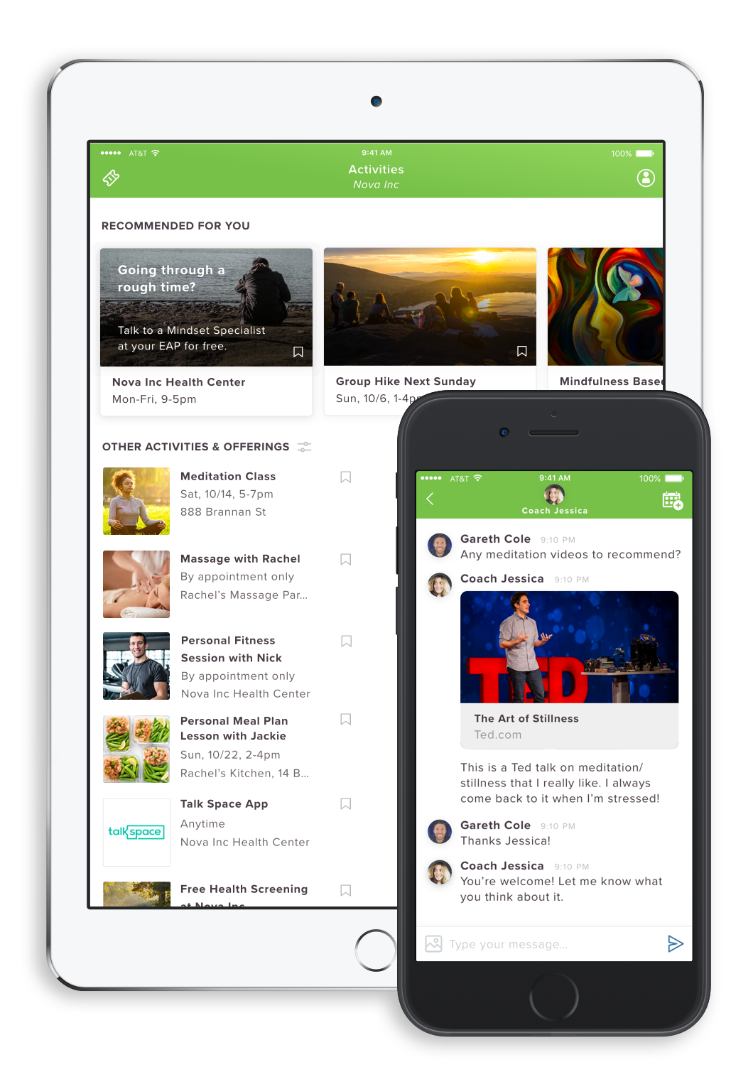 The LifeDojo platform UI on tablet and mobile devices.