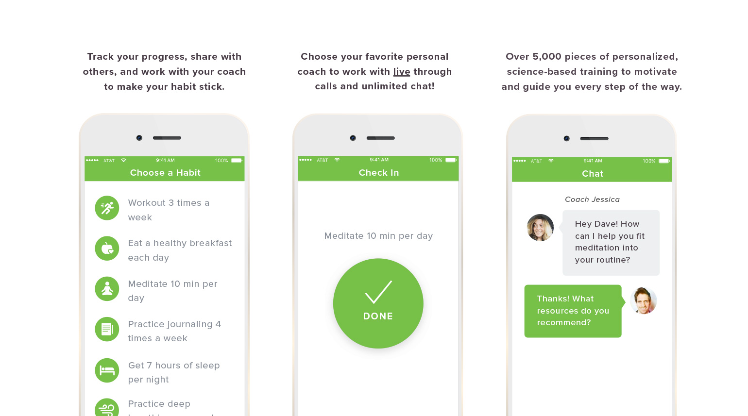 Select screens from the onboarding process of the LifeDojo app calling out key features.