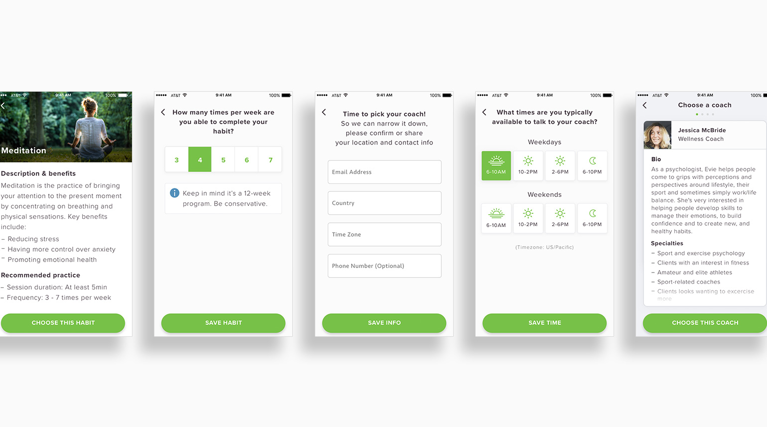 Visual user flow for users to customize their wellness program and set milestone habit tracking.