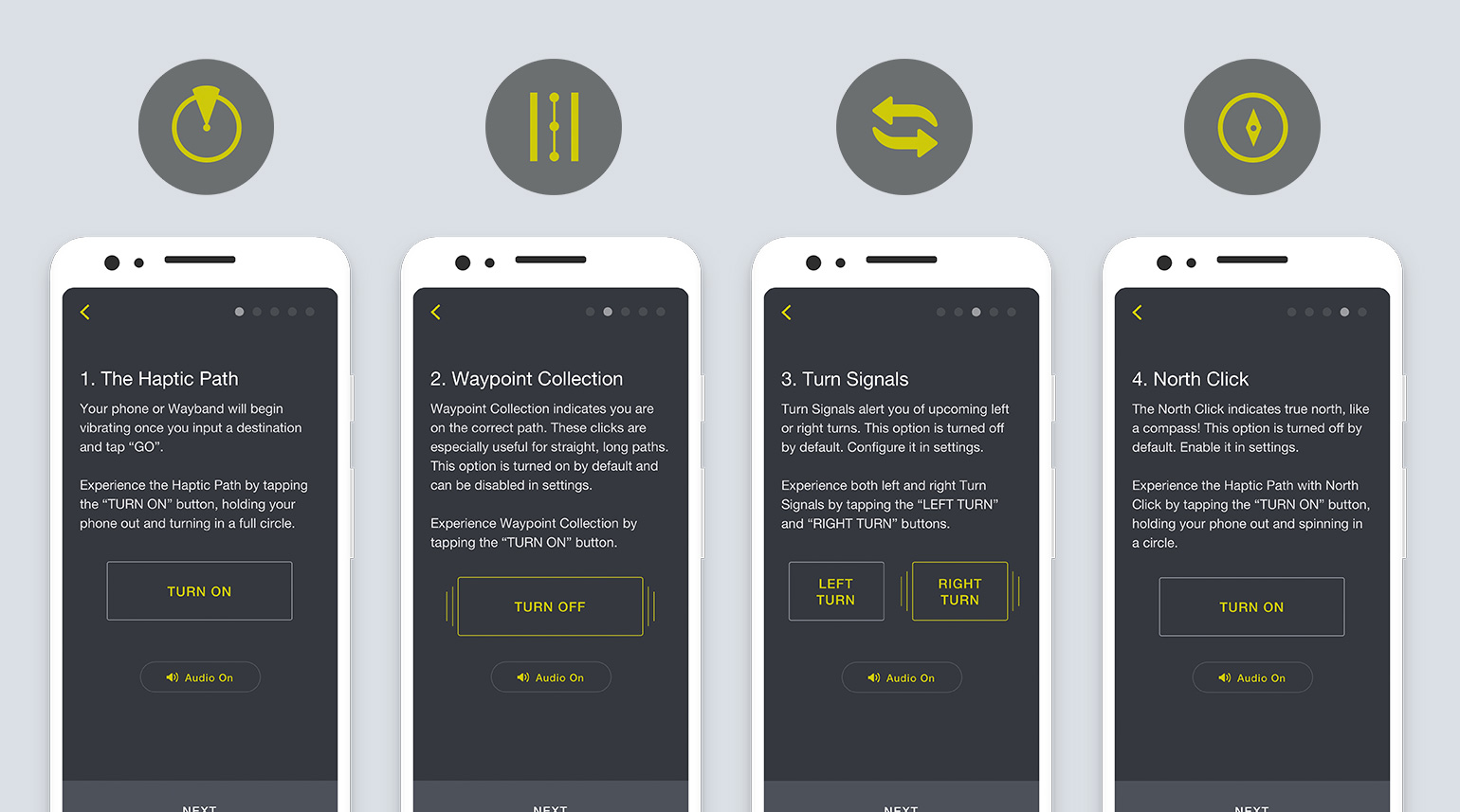 A screen by screen walk through guiding first time users through the UX of the companion app and wearable device.