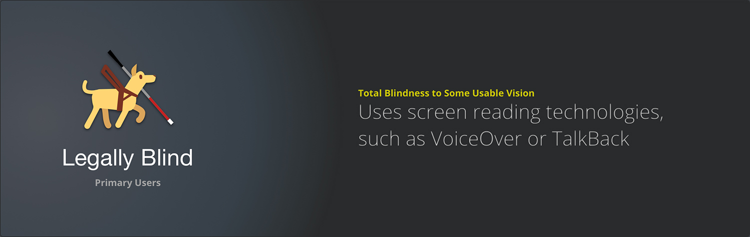 Details on our primary user and how we designed for usability with the legally blind.