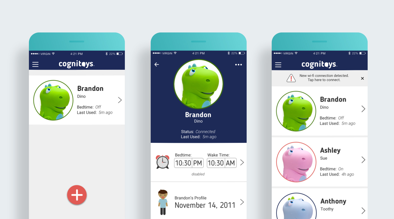 Mobile app user interface for onboarding a new toy and managing profile information.