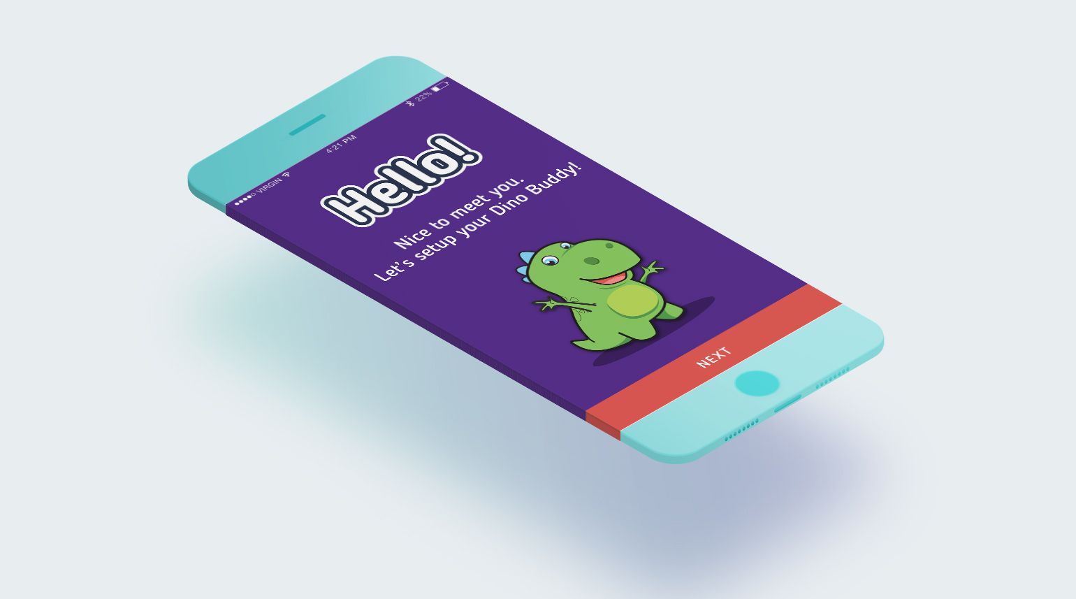 The CogniToys mobile app welcome screen design.