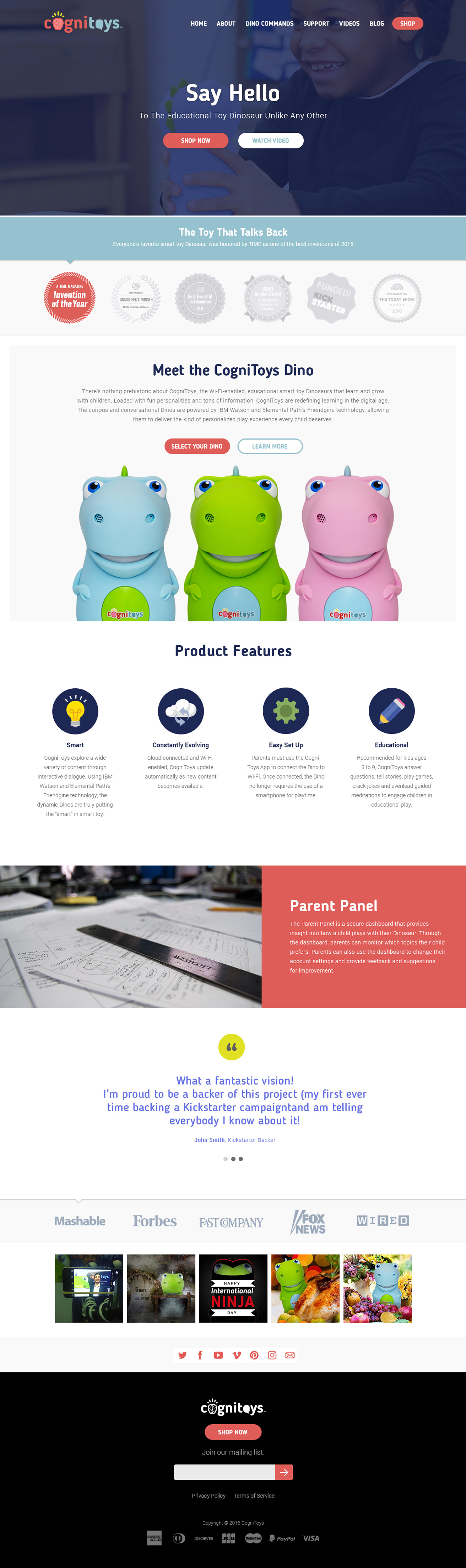 Desktop design for the CogniToys consumer website.