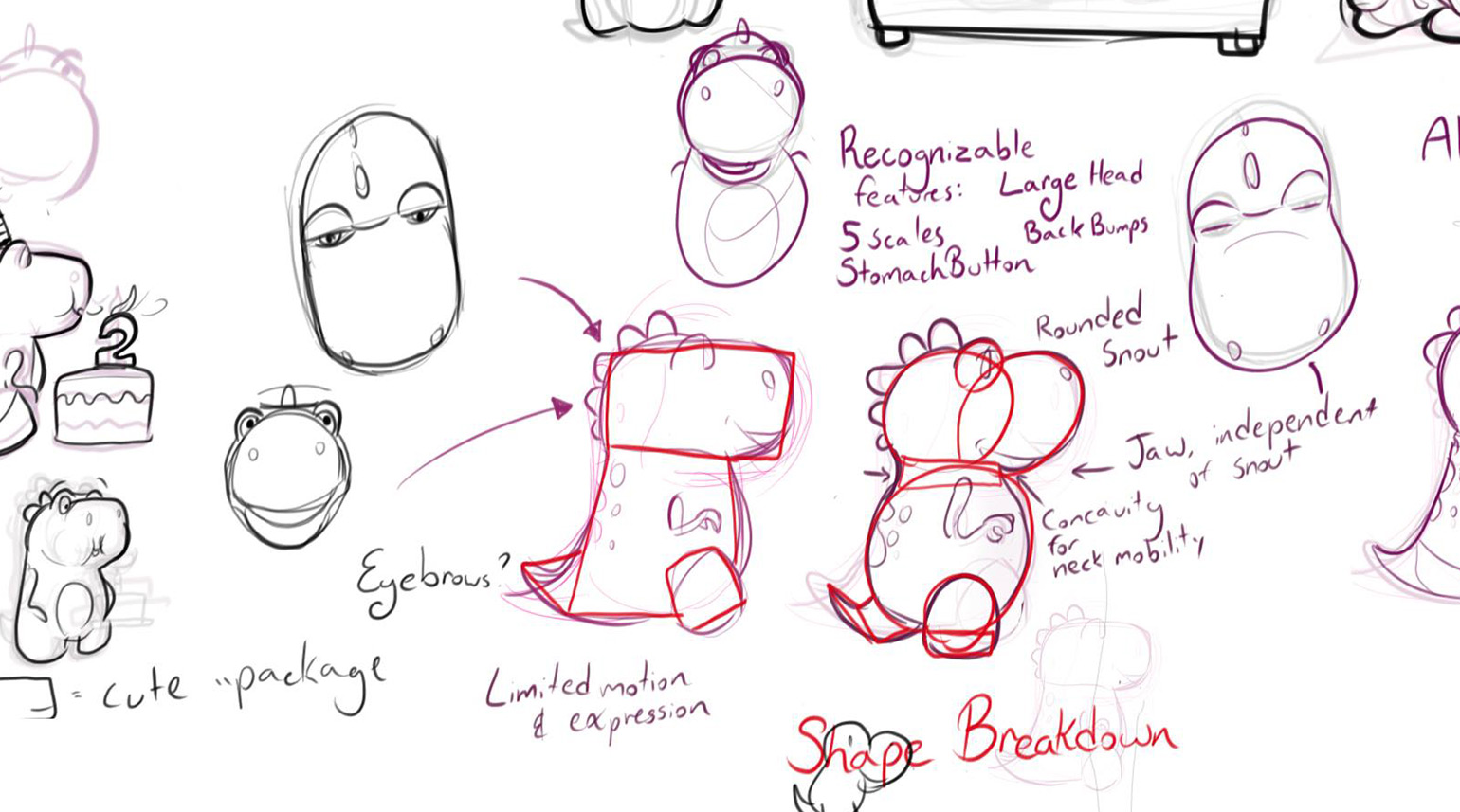 Initial sketches for the CogniToys dinosuar product design.