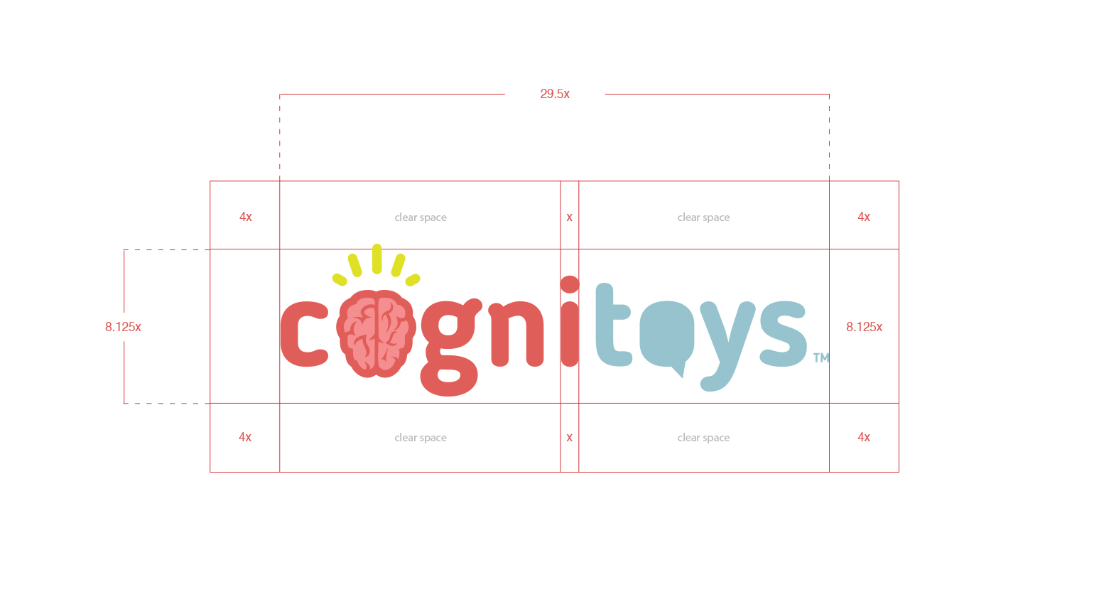 The CogniToys logo design with size guidelines.