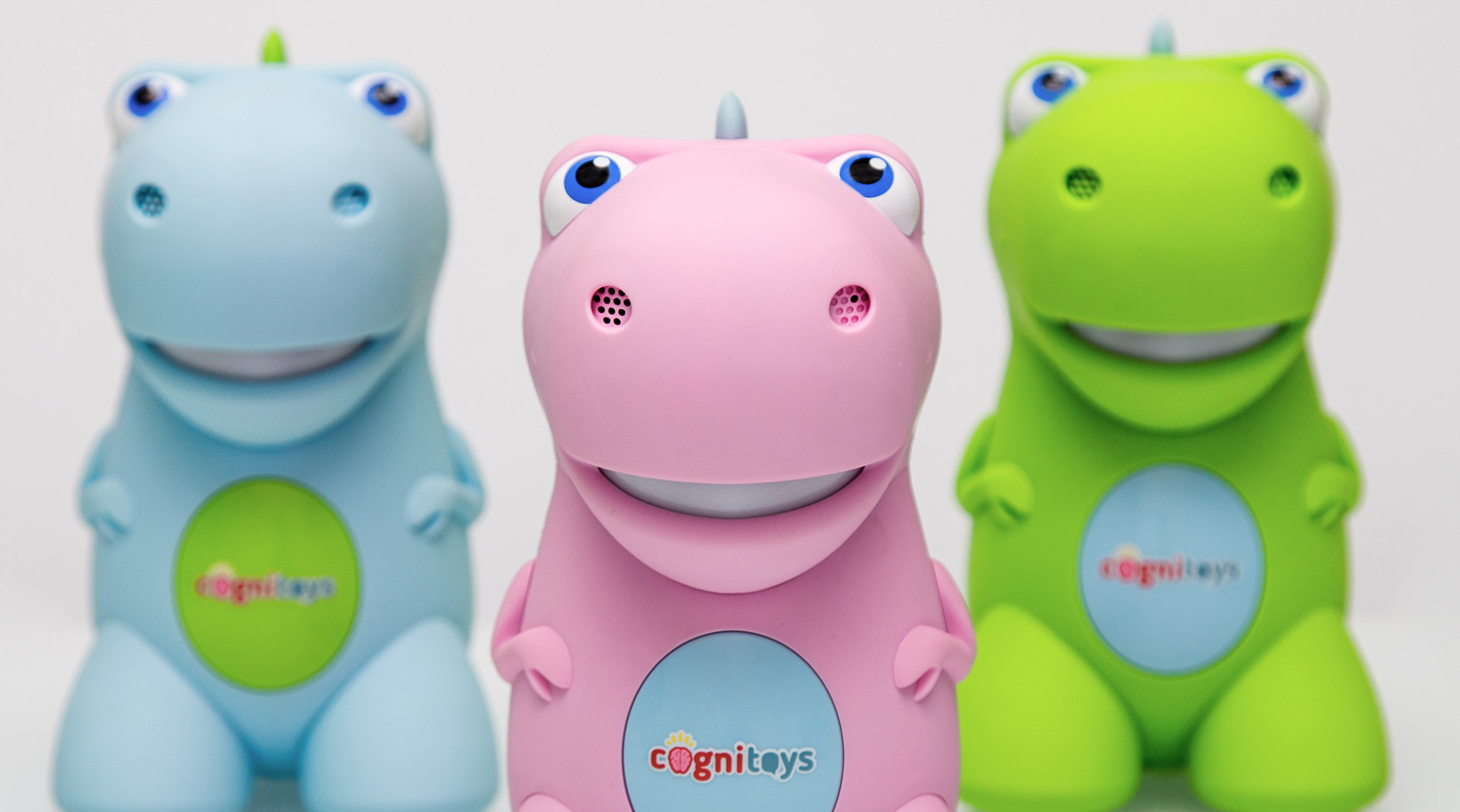 Product shot of all three colorways for the CogniToys dino.