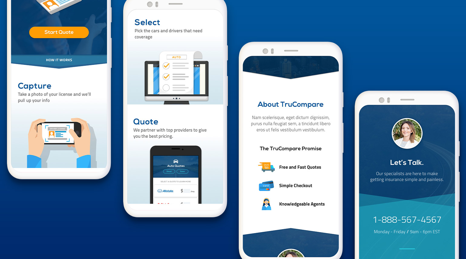 Mobile web design walking users through the simplified process of  getting an auto insurance quote.