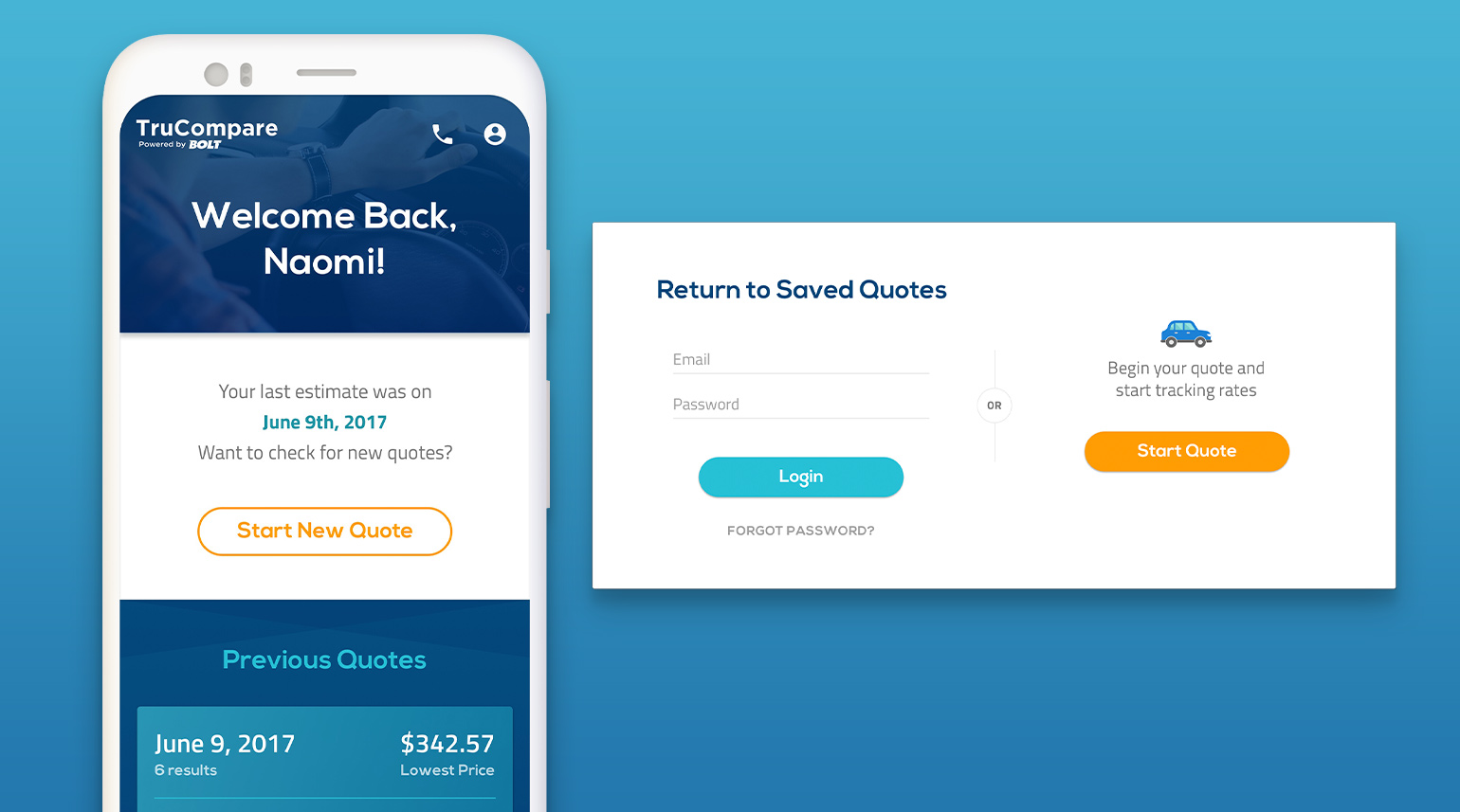 UI components for accessing saved quotes and user information.