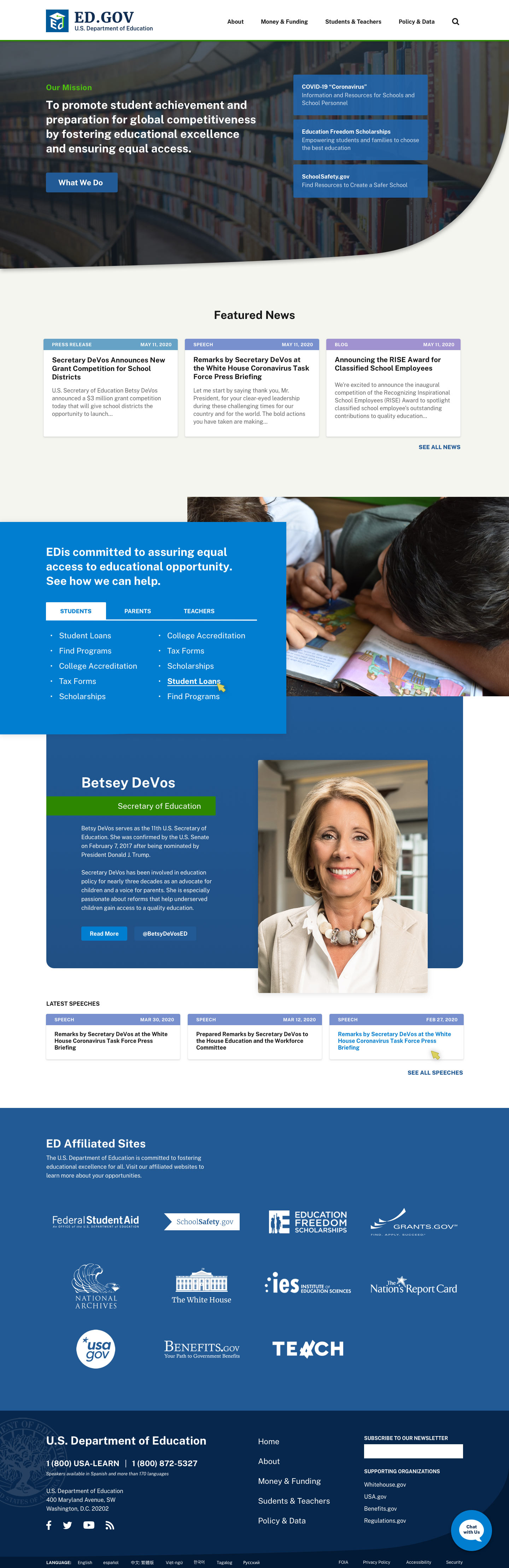 Redesigned landing page for the desktop Department of Education website.