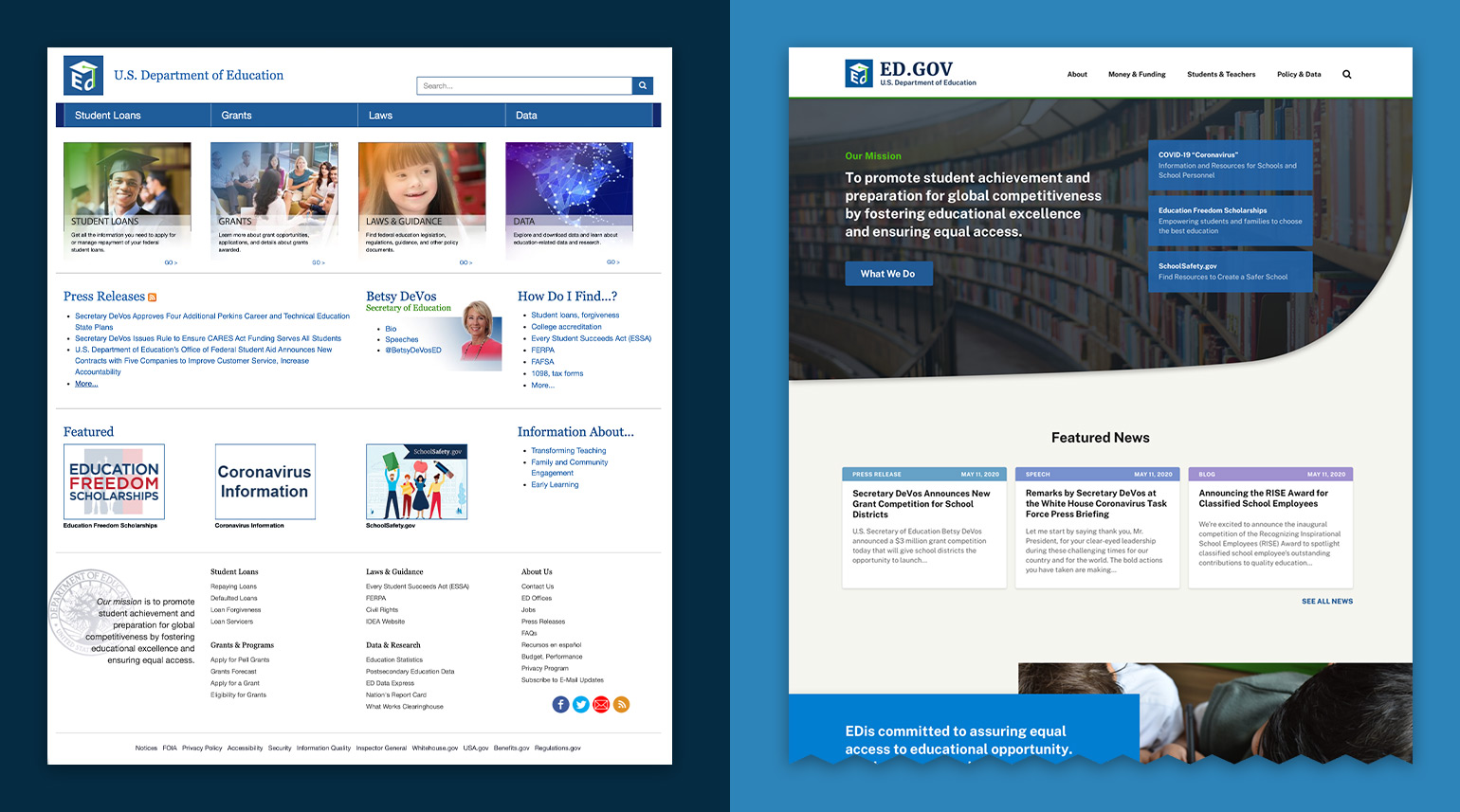 Before and after of the completely restructured navigation for the DOE website.
