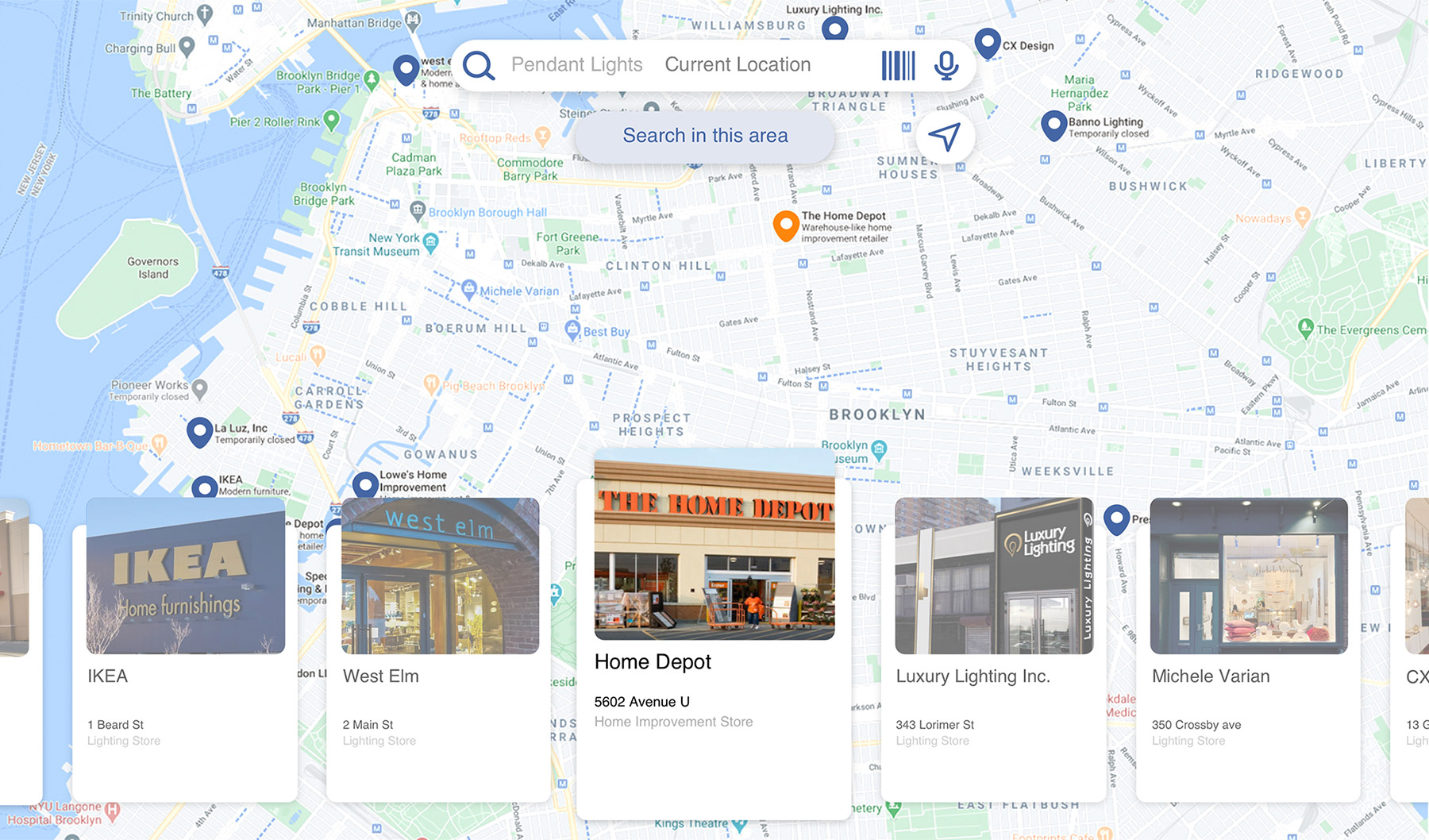 Design for the global search experience that allows users to search for any purchasable item within a given area from the database.