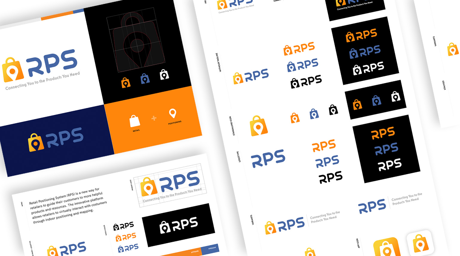 Various mockups from the full brand system and brand guidelines that were developed for the RPS brand.
