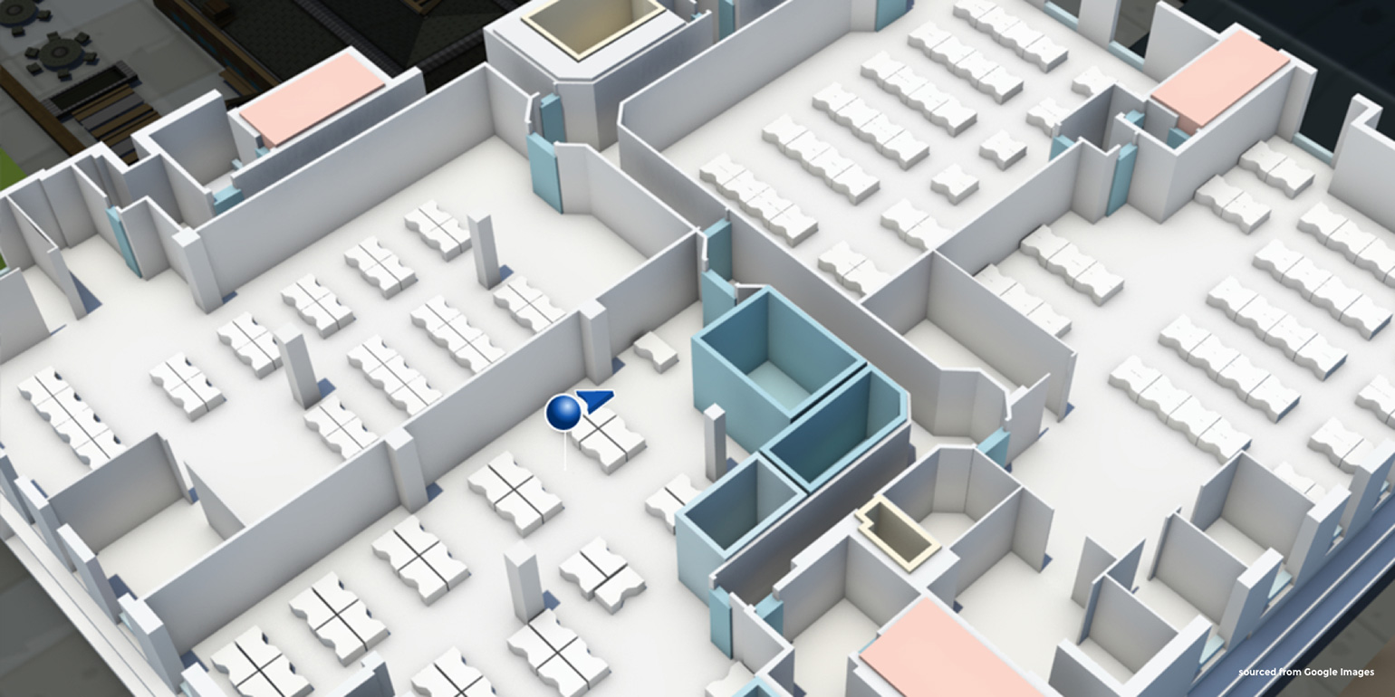 A 3D rendering of a retail store map.