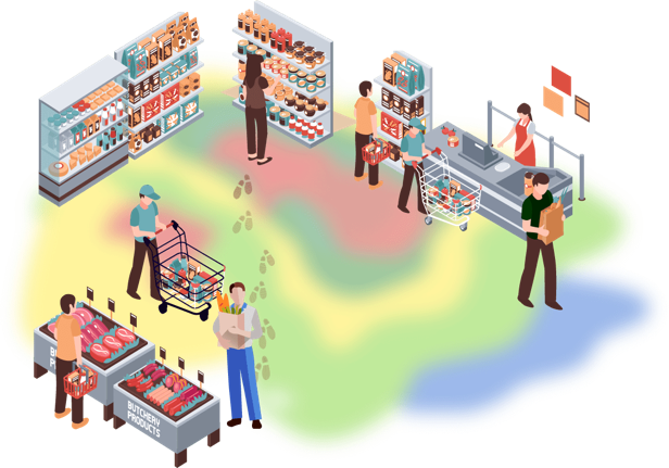 Illustration of a virtual heat map showing where customers physically spend time within a given space.