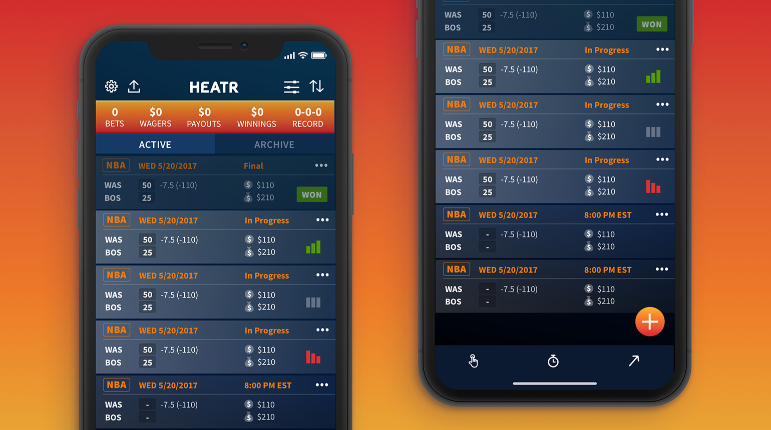 Mobile app screens featuring functionality to track bets with a real-time summary dashboard.