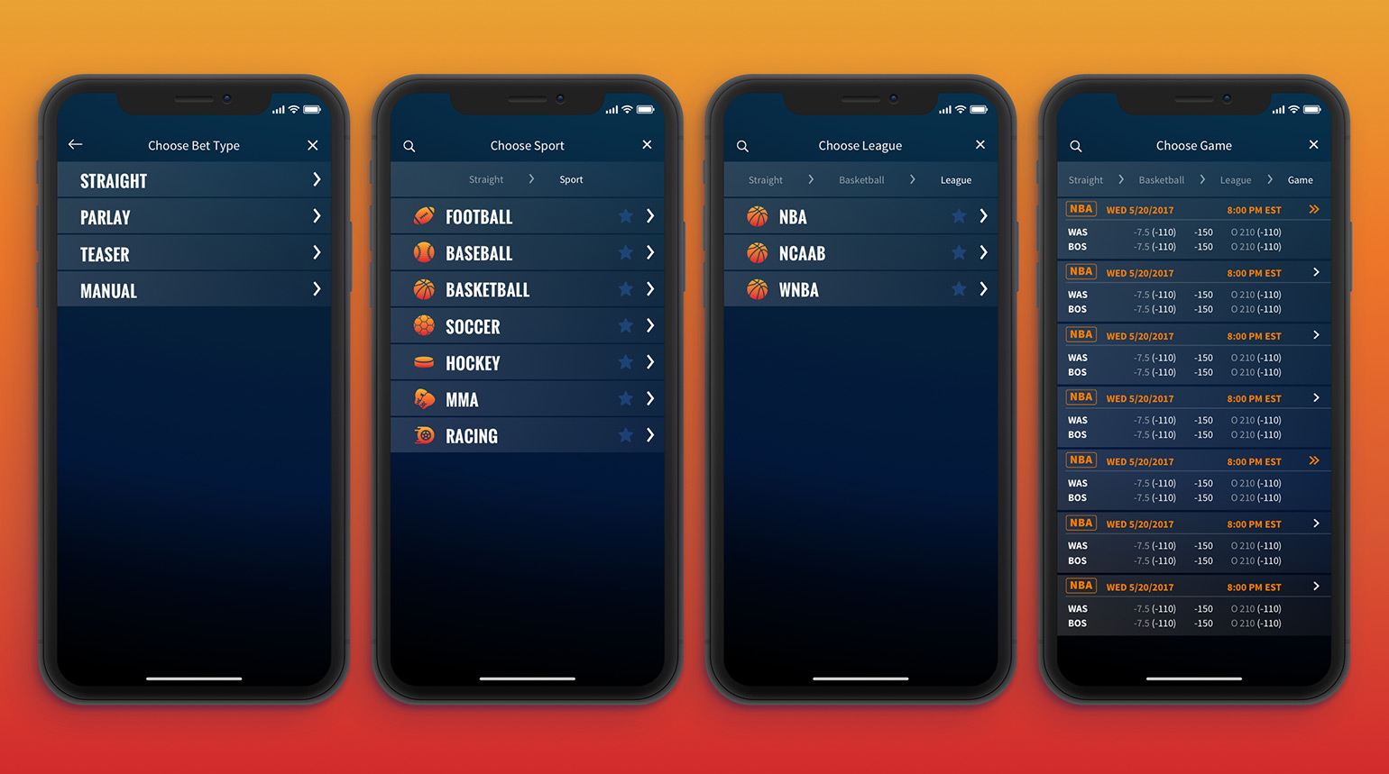 User flow allowing users to track different bet types across multiple sports categories.
