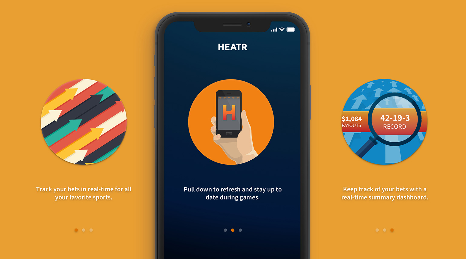 Onboarding swipe tutorial for first time users of the HEATR app.