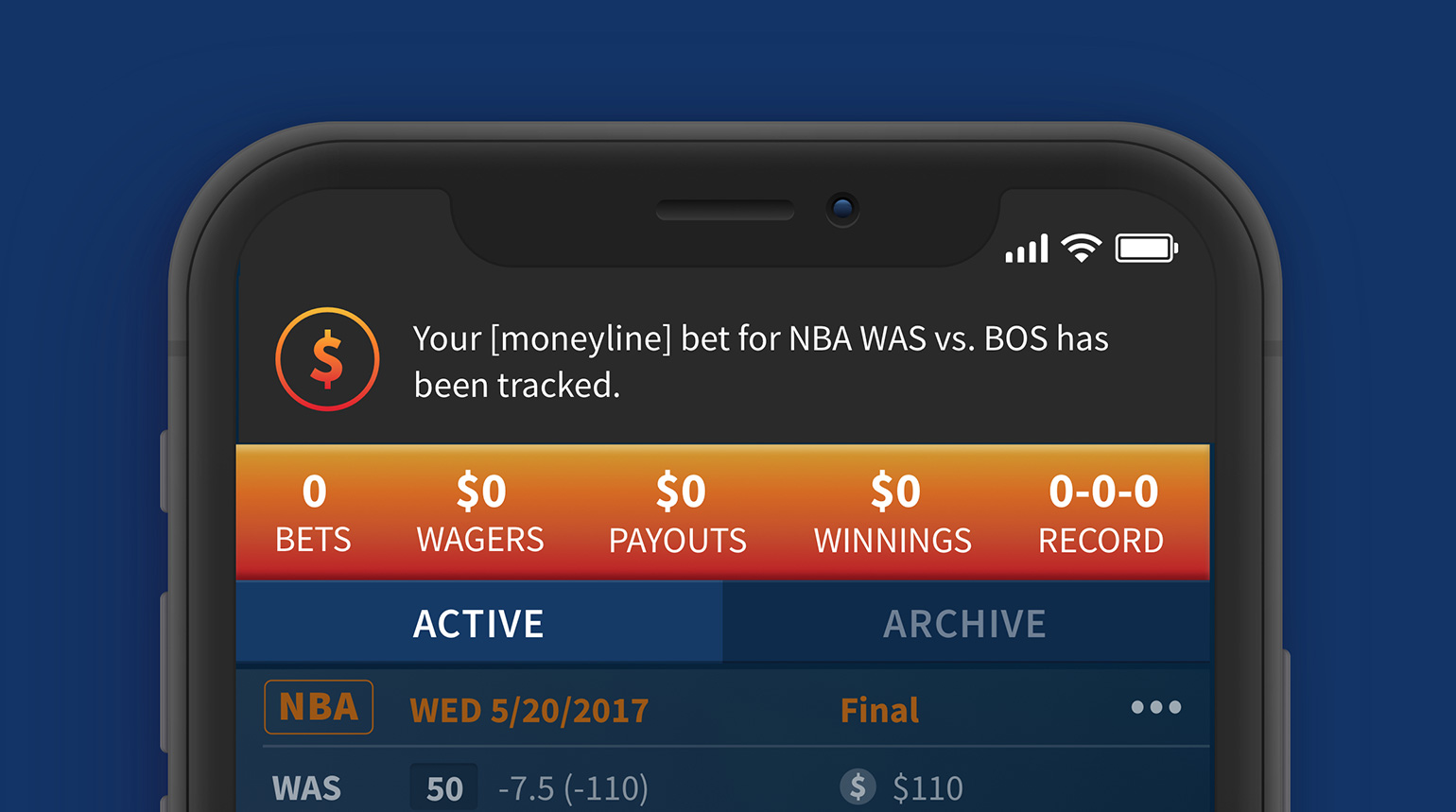 In-app notifications for real time bet tracking.