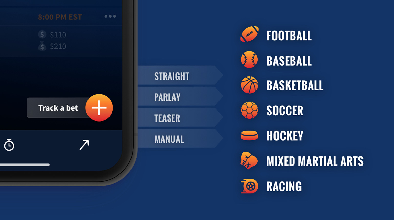 UI components to track straights, parlays, teasers, and your own custom bets across different sports.