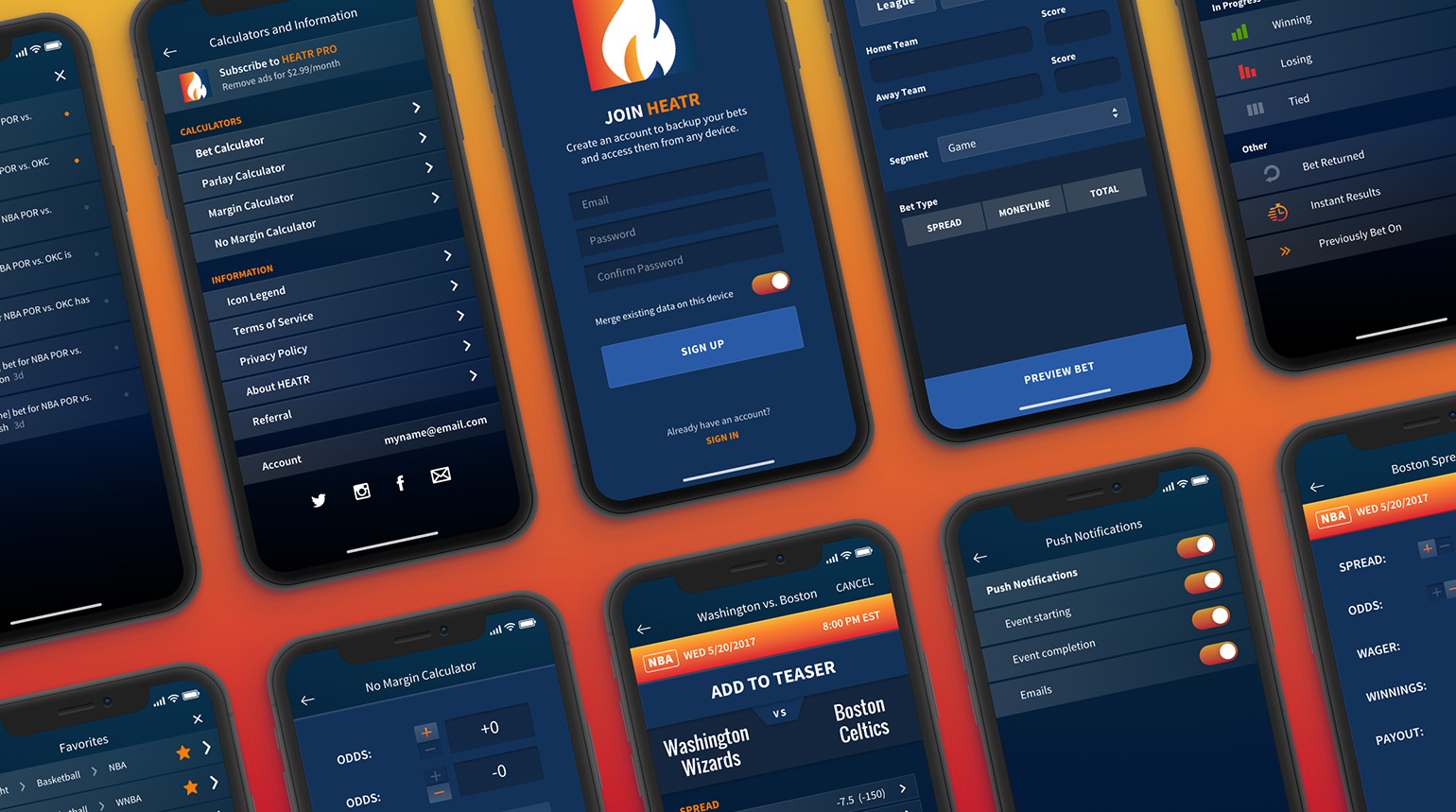 Various screenshots of the HEATR mobile app user interface.