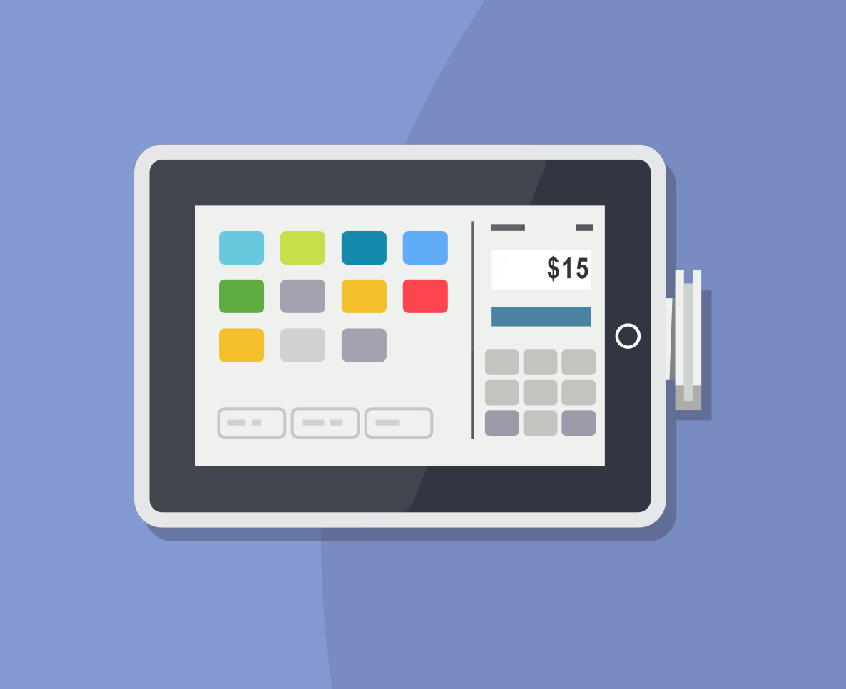 Stylized illustration of the SuiteRetail POS dashboard for purchase transactions.