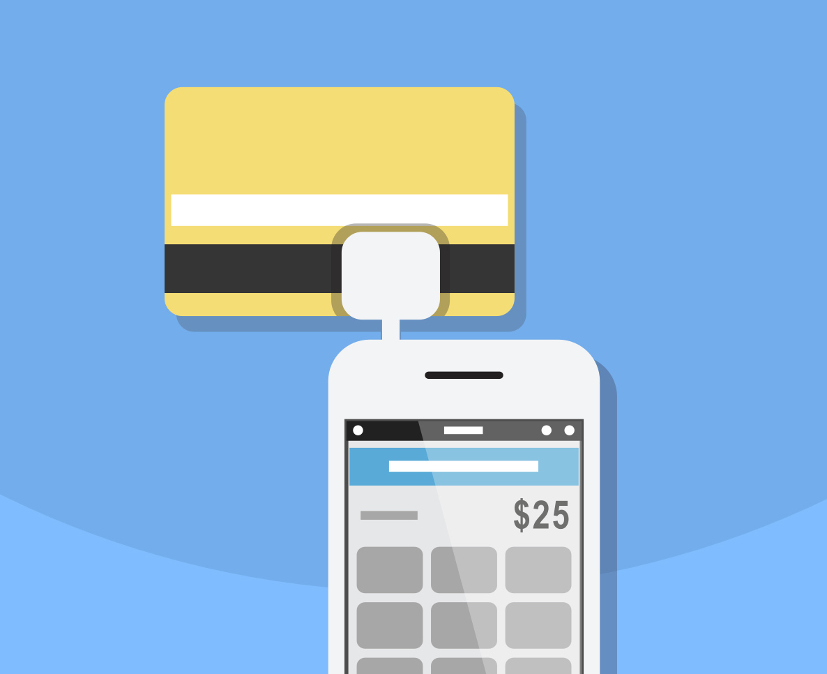 Illustration of a payment being made with a credit card through a mobile device.
