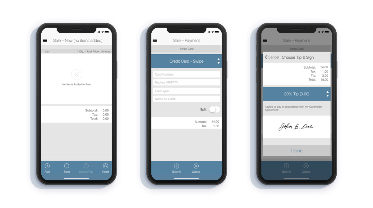 Select payment screens from the SuiteRetail POS mobile app.