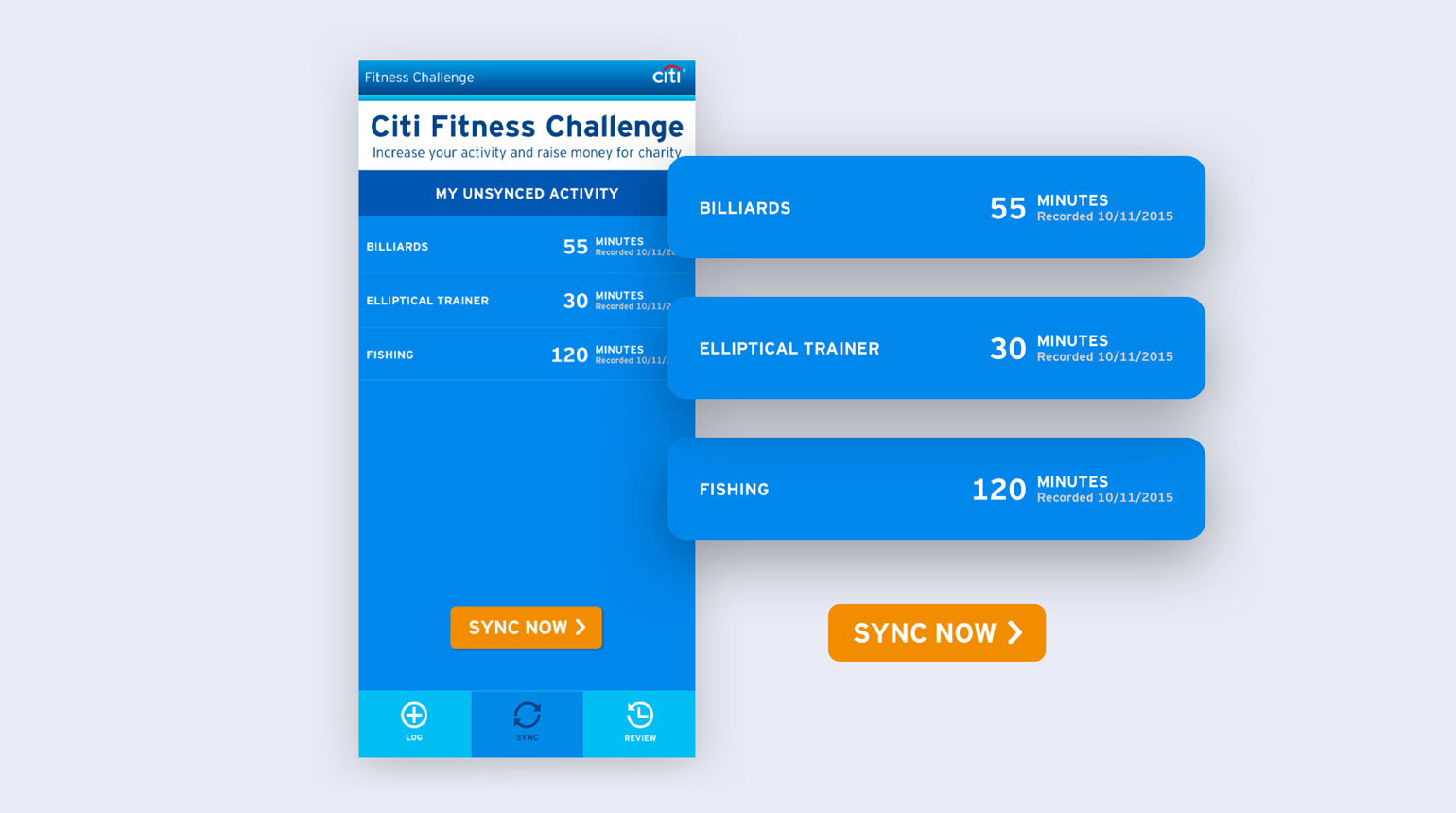 Citi Fitness Challenge unsycned activity challenge screen