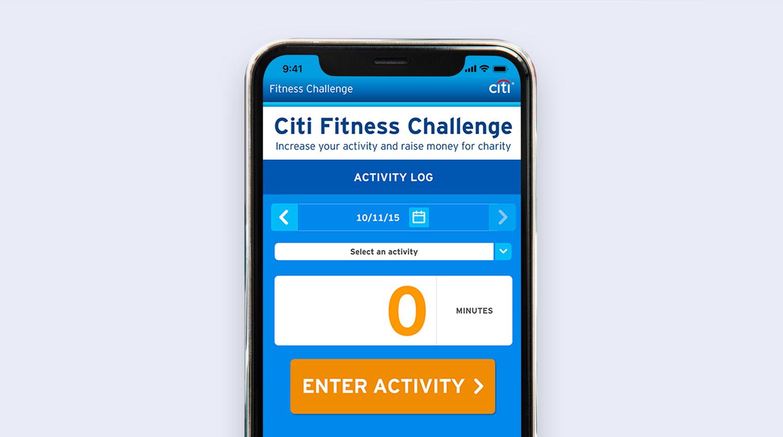 Citi fitness challenge activity log screen