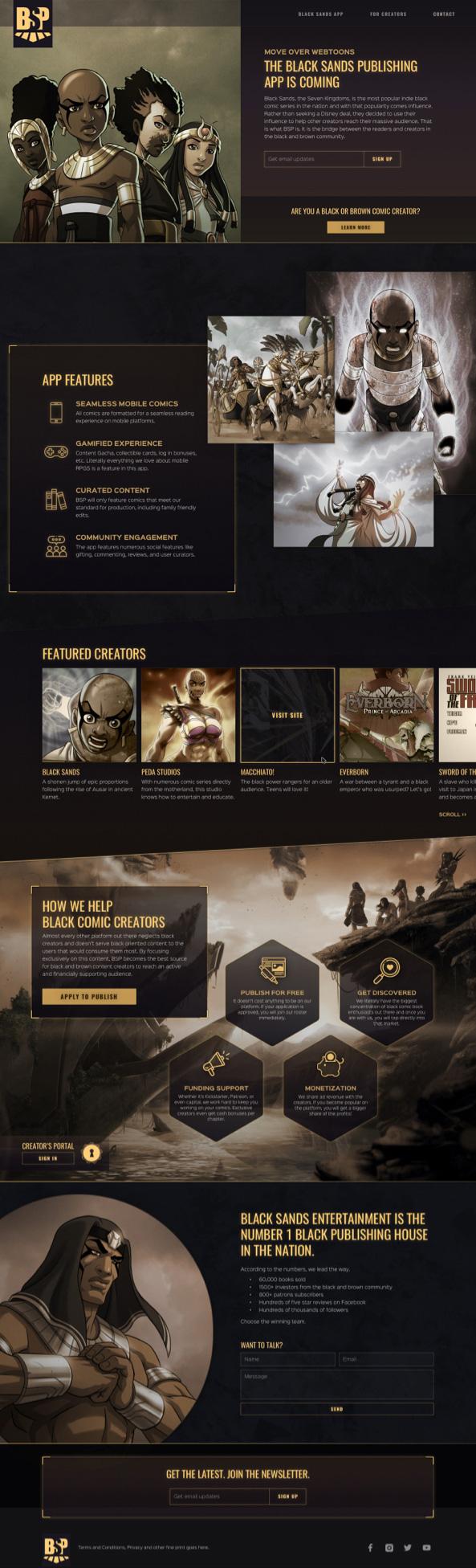 Website design of the Black Sands Publishing marketing site
