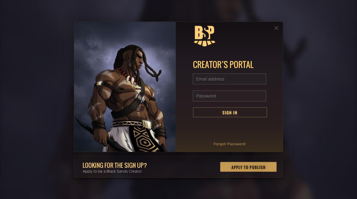 Mock up of the Black Sands Publishing creator portal desktop design.