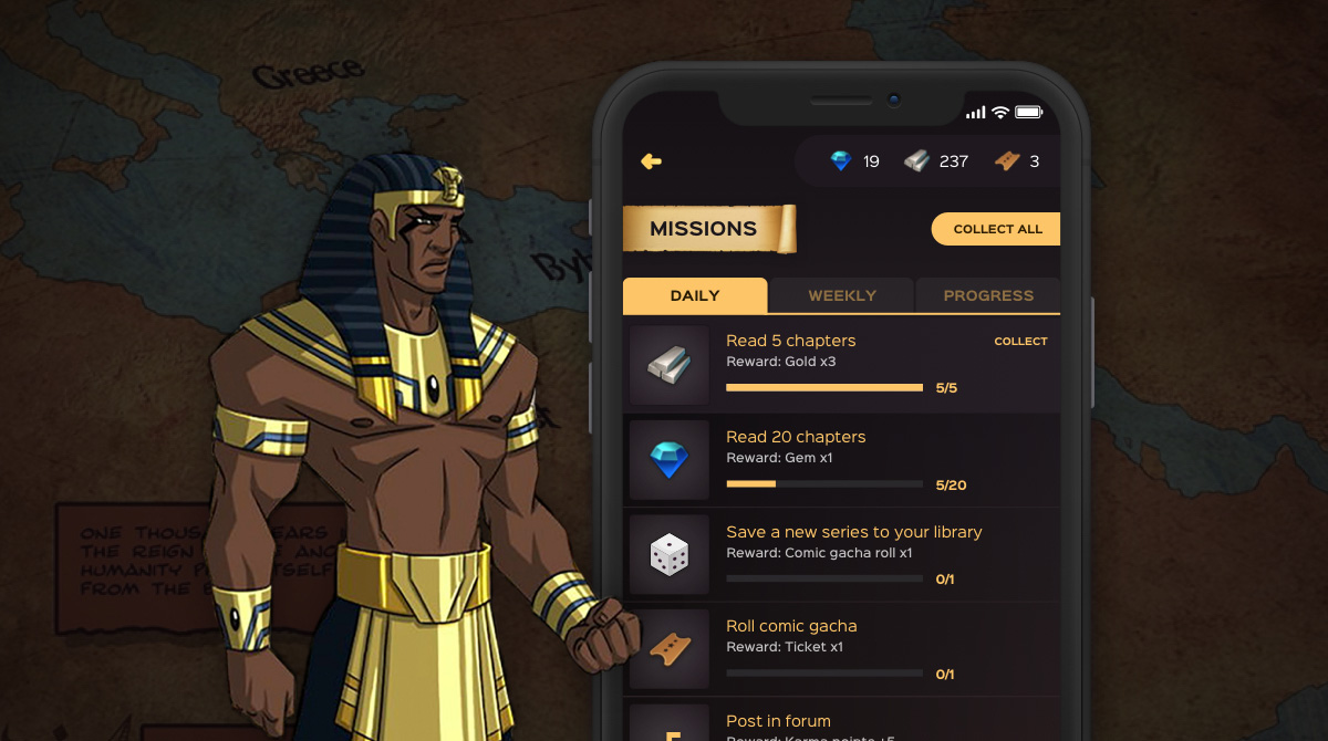 Mobile app screen of the Black Sands missions and rewards