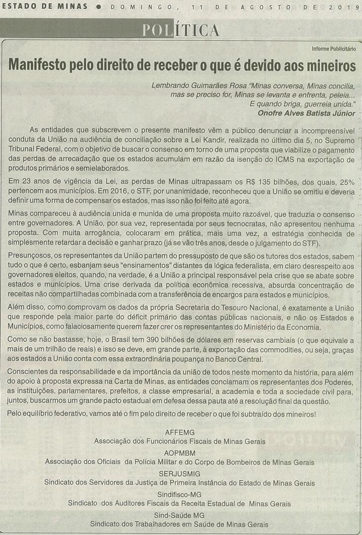 Em manifesto, AFFEMG, Sindifisco-MG e mais entidades pressionam pelo ressarcimento das perdas causadas pela Lei Kandir