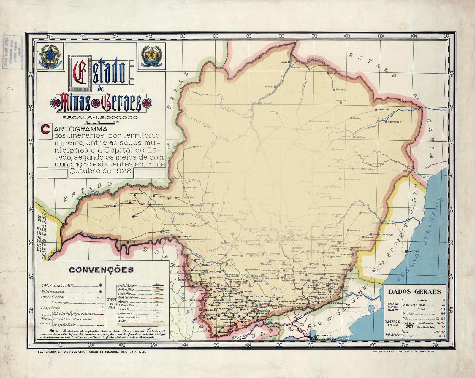 Mapa antigo de minas gerais