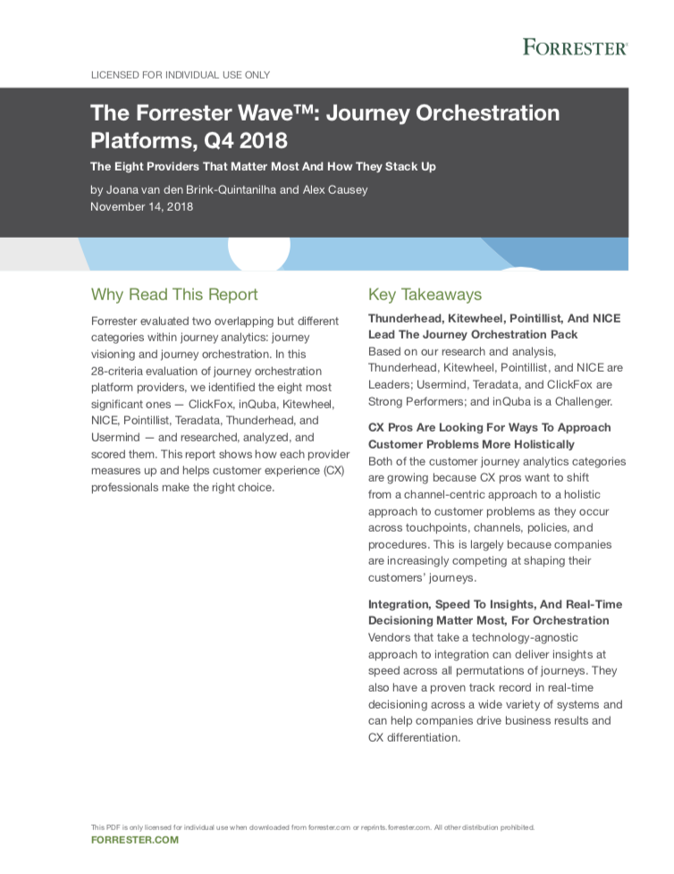 The Forrester Wave™: Journey Orchestration Platforms, Q4 2018